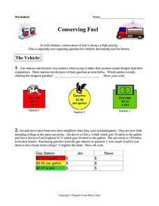 Conserving Fuel Worksheet