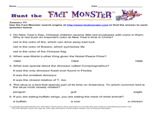 Hunt the Fact Monster January #3 Worksheet