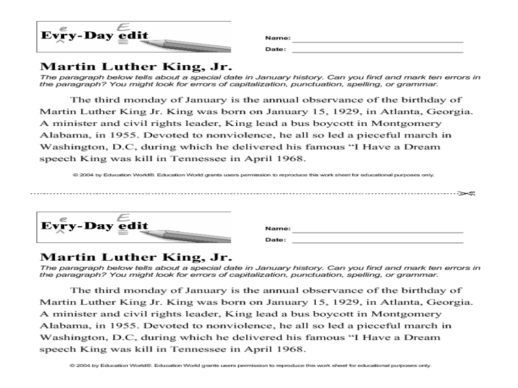 Free Worksheet Grammar Editing Worksheets daily edit worksheets delibertad every day martin luther king jr 7th 10th grade