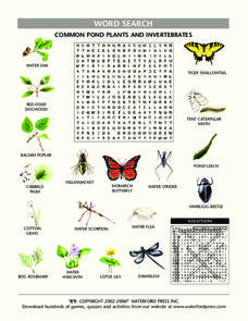Common Pond Plants and Invertebrates Worksheet