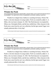 Every Day Edit - Winnie the Pooh Worksheet