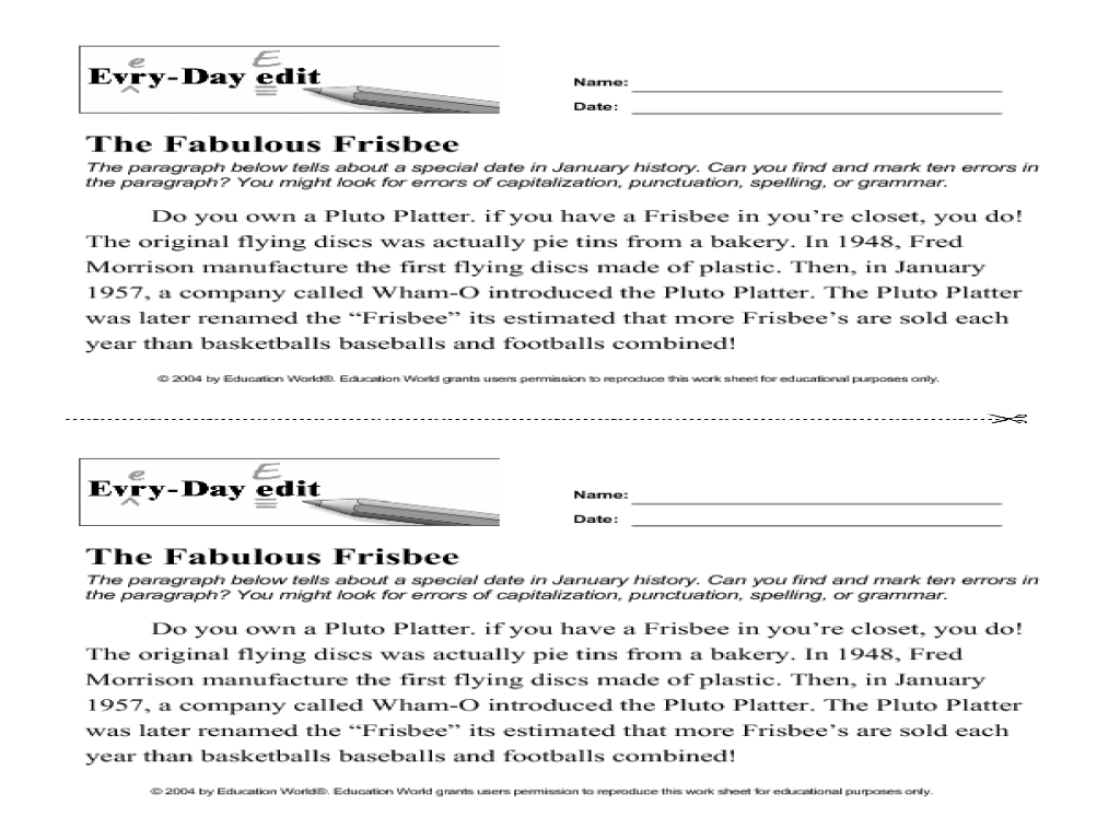 Uncategorized Paragraph Editing Worksheets every day edit the fabulous frisbee 7th 10th grade worksheet lesson planet