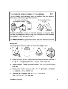 Volume and Surface Area of Polyhedrea Worksheet