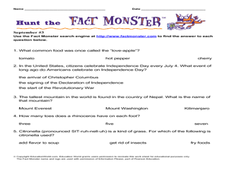 Hunt the Fact Monster September #3 Lesson Plan