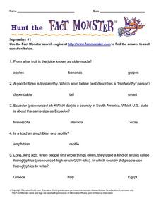 Hunt the Fact Monster September #1 Worksheet