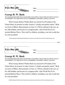 Every Day Edit - George H.W. Bush Worksheet