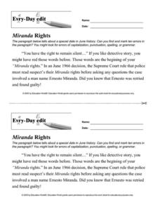 Every Day Edit - Miranda Rights Worksheet