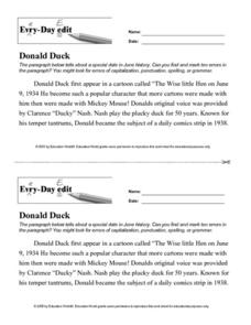 Every Day Edit - Donald Duck Worksheet