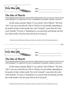 Every Day Edit - The Ides of March Worksheet