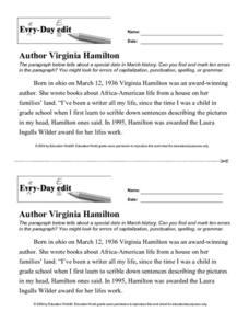 Every Day Edit - Author Virginia Hamilton Activities & Project