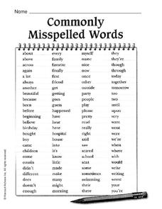 commonly misspelled words worksheet for 2nd 3rd grade lesson planet. Black Bedroom Furniture Sets. Home Design Ideas
