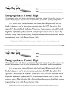 Every Day Edit - Desegregation at Central High Activities & Project