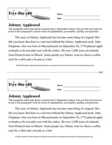 Every Day Edit - Johnny Appleseed Worksheet