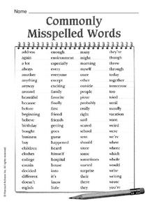 Commonly Misspelled Words Worksheet