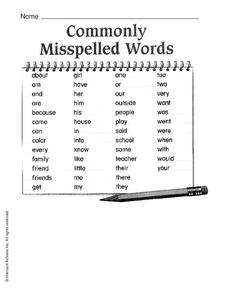 commonly misspelled words worksheet for 3rd 4th grade lesson planet. Black Bedroom Furniture Sets. Home Design Ideas