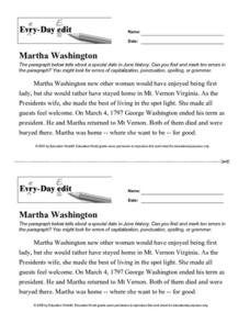 Every Day Edit - Martha Washington Activities & Project