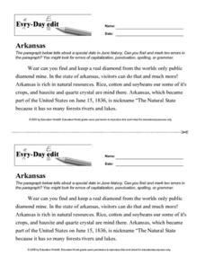 Every Day Edit - Arkansas Worksheet