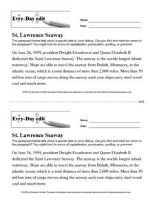 Every Day Edit - St. Lawrence Seaway Worksheet