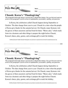"Every Day Edit - Chusok: Korea's ""Thanksgiving"" Lesson Plan"