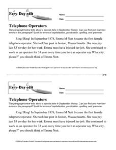 Every Day Edit - Telephone Operators Lesson Plan