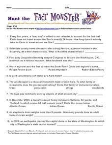 Hunt the Fact Monster #30 Worksheet