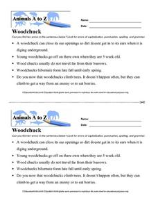 Animals A to Z: Woodchuck Worksheet