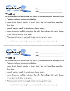 Animals A to Z: Warthog Worksheet