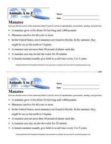 Animals A to Z: Manatee Worksheet