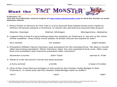 Hunt the Fact Monster February #1 Worksheet