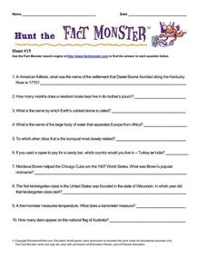 Hunt the Fact Monster #15 Worksheet