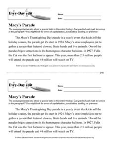 Every Day Edit - Macy's Parade Lesson Plan