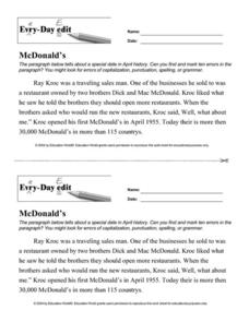 Every Day Edit - McDonald's Worksheet