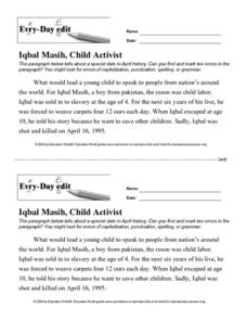 Every Day Edit - Iqbal Masih, Child Activist Activities & Project