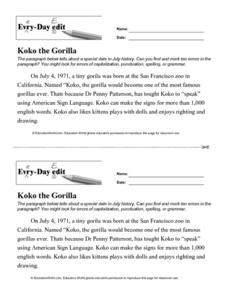 Every Day Edit - Koko the Gorilla Lesson Plan
