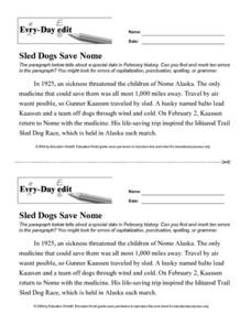 Every Day Edit - Sled Dogs Save Nome Lesson Plan