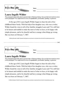 Every Day Edit - Laura Ingalls Wilder Worksheet