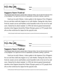 Every Day Edit - Sapporo Snow Festival Worksheet