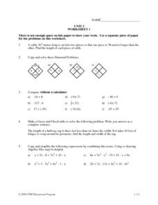 Diamond Problems Worksheet