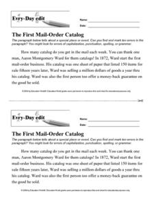 Every-Day Edit: The First Mail-Order Catalog Lesson Plan