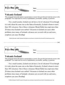 Every-Day Edit: Volcanic Iceland Worksheet
