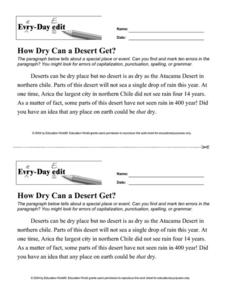 Every-Day Edit: How Dry Can a Desert Get? Worksheet