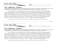 Every Day Edit - S.E. Hinton, Author Worksheet