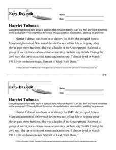 Every-Day Edit - Harriet Tubman Worksheet