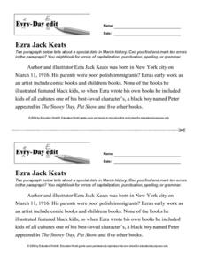 Every Day Edit - Ezra Jack Keats Worksheet