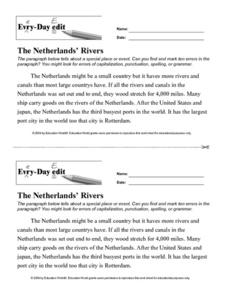 "Every-Day Edit: ""The Netherlands Rivers"" Lesson Plan"