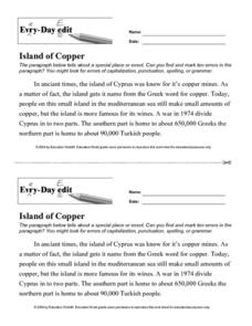 "Every-Day Edit: ""Island of Copper"" Worksheet"