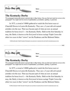 Every Day Edit - The Kentucky Derby Worksheet