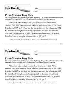 Every Day Edit - Prime Minister Tony Blair Worksheet