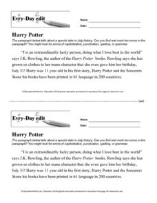 Every Day Edit - Harry Potter Lesson Plan