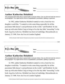 Every Day Edit - Author Katherine Holabird Worksheet